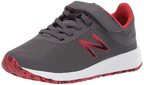 New Balance Kid's 455 V2 Alternative Closure Running Shoe, Magnet/Velocity Red, 1 M US Little Kid