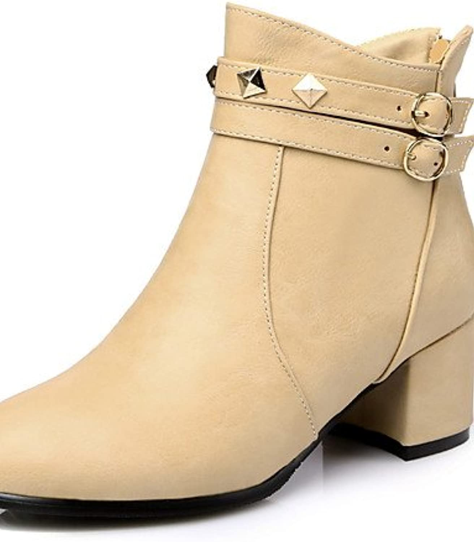 XZZ  Damen-Stiefel-Büro   Kleid   Lässig-Kunstleder-Blockabsatz-Absätze   Stifelette   Spitzschuh-Schwarz   Grau   Mandelfarben  | Erste Gruppe von Kunden  | Zu einem erschwinglichen Preis