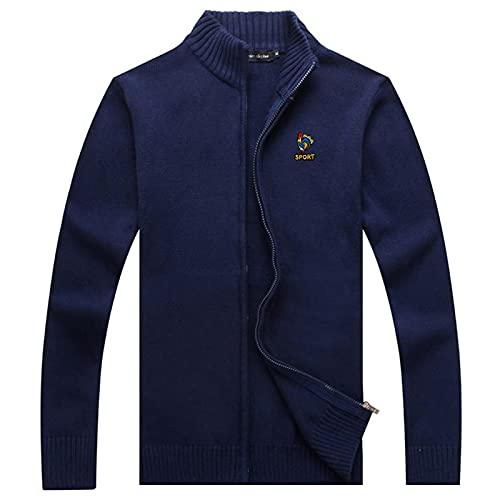 Suéter 100% Algodón De Cuello Alto Suéteres Gruesos para Hombre Marca De Bordado Punto Casual para Hombre con Cremallera Moda Abrigos Masculinos XXXL A