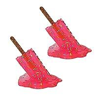 2個の溶けるアイスキャンデーの彫刻、創造的な溶けるアイスクリームの樹脂の装飾品、透明な溶けるアイスキャンデーのポップアートの彫刻、夏の涼しいアイスキャンデーの溶ける樹脂の装飾現代の家の装飾 (ピンク)