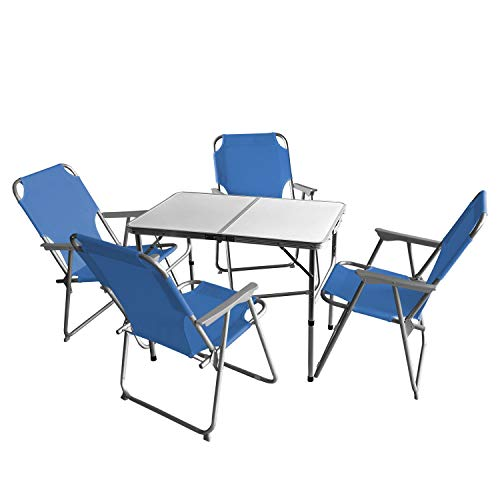 Wohaga 5tlg. Campingmöbel Set Campingtisch 'Bergen', Aluminium, 90x60cm + 4X Campingstuhl, Blau/Strandmöbel Campinggarnitur Gartenmöbel