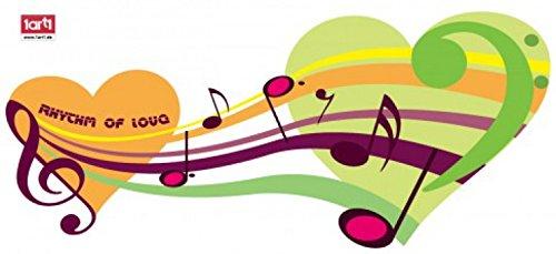 Preisvergleich Produktbild 1art1 Musiknoten - Happy Rhythm of Love Wand-Tattoo Aufkleber Poster-Sticker 60 x 25 cm