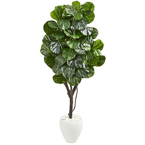 "Nearly Natural 68"" Fiddle Leaf Fig Artificial White Planter Silk Trees Green"