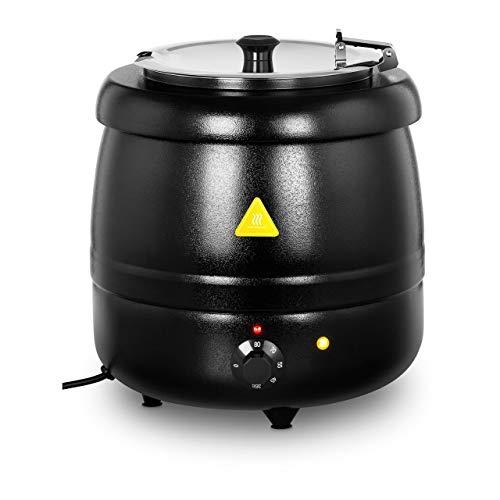 Royal Catering Zuppiera Elettrica Casseruola Pentola RCST-10BB (10 L, 400 W, Nera, 30-85 °C, Metallo, Acciaio Inox)