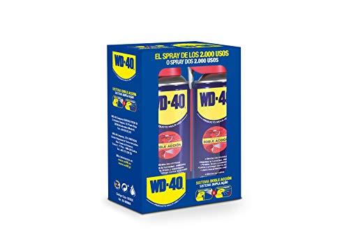 WD-40 Producto Multi-Uso Doble Acción- Spray 400ml-Pack x2 -Aplicación amplia o precisa. Lubrica, Afloja, Protege del óxido, Dieléctrico, Limpia metales y plásticos y Desplaza la humedad