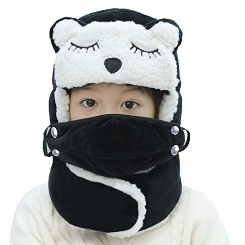 Cute Cartoon Winter Trapper Hat for Kids Boys Girls with Faux Fur Ear Flaps Neck Gaiter Warmer Ushanka Aviator Pilot Bomber Russian Hat Windproof Fleece Lined Warm Snow Ski Face Warmer Scarf Hat Set