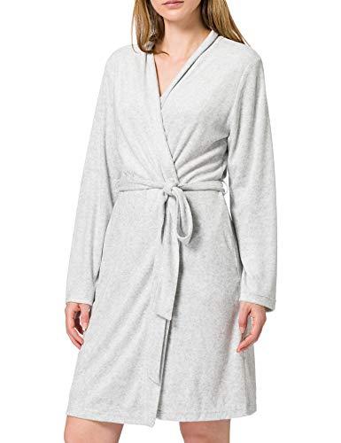 Schiesser Damen Sleep + Lounge Mantel, 95 cm Bademantel, Graphit-Mel, 36