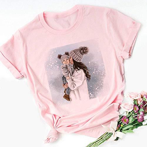 T-Shirt Femme T-Shirt Rose Imprimé Amour De Maman Mama Tshirt Tops Tee Shirt Summer XXL 2889-Rose