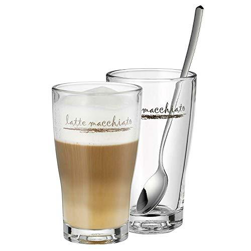 WMF 0954149990 Latte Macchiato Set Barista (2 Gläser mit 2 Löffel)