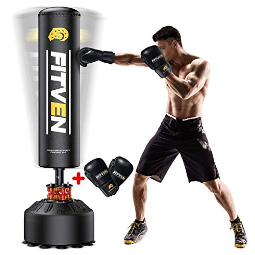 FITVEN Freestanding Punching Bag 70''-205lbs with Boxing Gloves Heavy Boxing Bag with Suction Cup Base for Adult Youth Kids -...