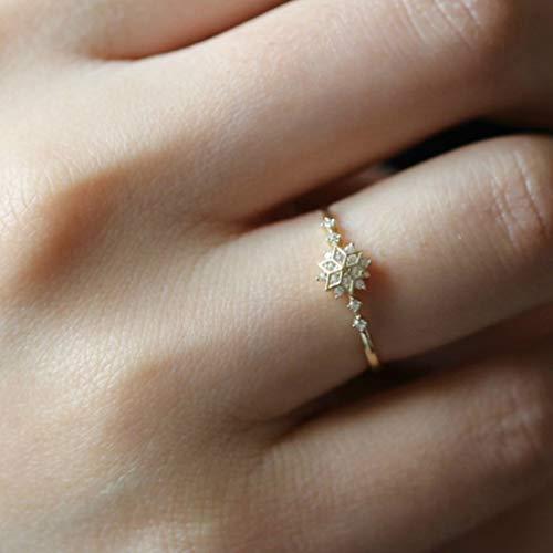 Yinew elegante fiocco di neve anello strass fiocco di neve wedding anello nuziale anniversario Beautiful Xmas gioielli regali, Rame, Size 9, As description