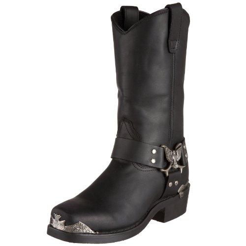 Dingo Mens Chopper Square Toe Western Cowboy Boots Mid Calf - Black - Size 10.5 D