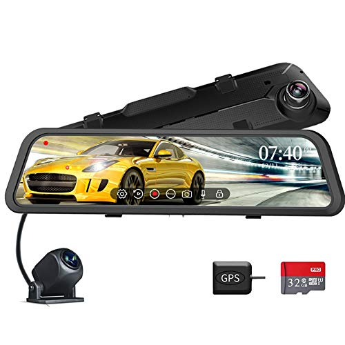 """WOLFBOX 12"""" Mirror Dash Cam Front and Rear for Cars,1296P Full Touch Screen Smart Rear View Mirror Camera,Loop Recording, Sony Sensor,LDWS, Parking Monitoring, Free 32GB Card & GPS"""