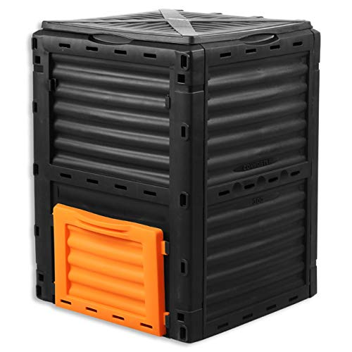 Fuxtec Composter da Giardino capacità 300L FX-KOMP300 Resistente alle intemperie 82x61x61cm Coperchio Pieghevole compostiera