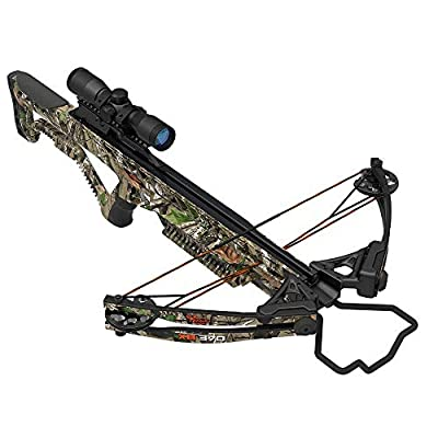 """Wildgame Innovations XB370 Compound Crossbow, Shoots 370 Feet Per Second, Includes Quiver, 2-20"""" Arrows, Rope Cocking Device & 4x32 Scope, Elude Camo"""