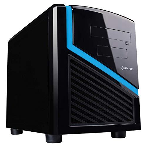 Hiditec | Caja Mini Ordenador Dark Kube Formato Micro ATX | Mini Torre de PC | Carcasa de Acero SECC | Gran Refrigeración | Configuración de Alto Rendimiento | Chasis de Sobremesa Negro y Azul