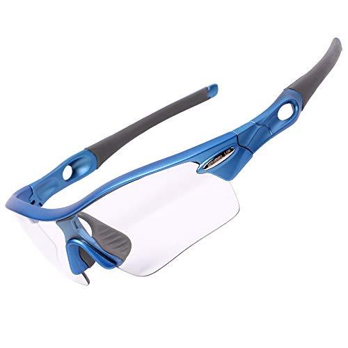 フォトクロミック スポーツサングラス 調光偏光レンズ 色が変わる 専用交換レンズ3枚 UV400 紫外線カット バイク/野球/釣り/テニス/ゴルフ/ランニッグ (ブルー)