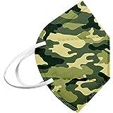 JJsmile 10-100 Stück Einweg Camouflage,5-lagige Mund-Nasen-Schutz,Nicht Gewebt,Filtration-Zertifiziert,Atmungsaktiv Multifunktionstuch Halstuch Bandana für Erwachsene