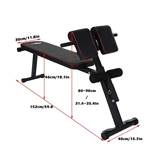 ETHY Height-Adjustable Multi-Functional Bench Sports Stretching Stool Roman Chair for Full All-in-One Body Workout Hyper Back Extension, Adjustable Ab Sit up Bench, Decline Bench, Flat Bench
