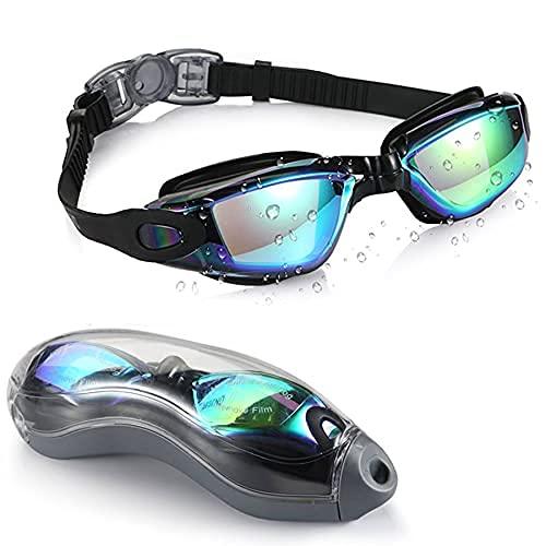 Gafas de natación, gafas de natación para adultos, hombres, mujeres, sin fugas, visión clara, antiniebla, protección UV, correa de ajuste rápido, silicona suave, funda de almacenamiento