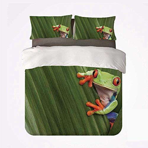 Conjunto de funda nórdica Animal Decor Varios 3 Conjunto de boda, rana arbórea de ojos rojos que se esconde en una hoja exótica macro en la selva tropical de Costa Rica Foto de naturaleza tropical par