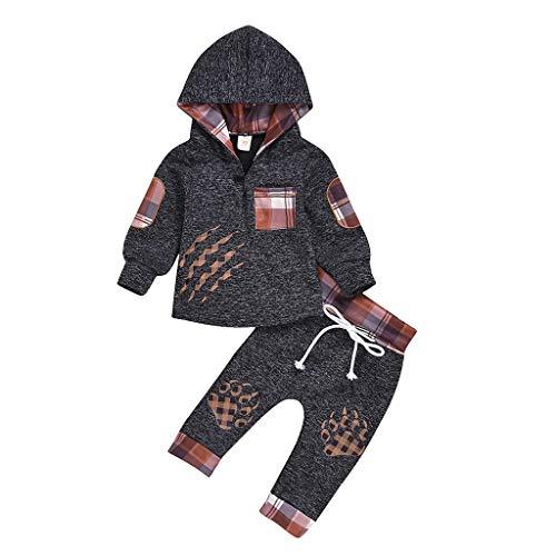 KINGWani ❤ für 0-24 Monate Neugeborenes Mädchen Junge Langarm Plaid Mit Kapuze Pfotenabdruck Pullover + Hosen Outfits Ausverkauf, für Kleinkind Kind Langarm Kleidung Anzüge'
