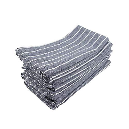N / A 30 x 40 cm Juego de 12 servilletas de tela a rayas de algodón y lino mesa de cena servilletas de tela manteles individuales de 6 colores, CJ002-3040Navy12
