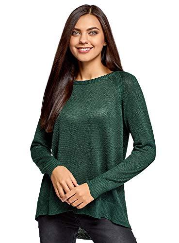 oodji Collection Damen Pullover mit Lurex und Langem Rücken, Grün, DE 38 / EU 40 / M