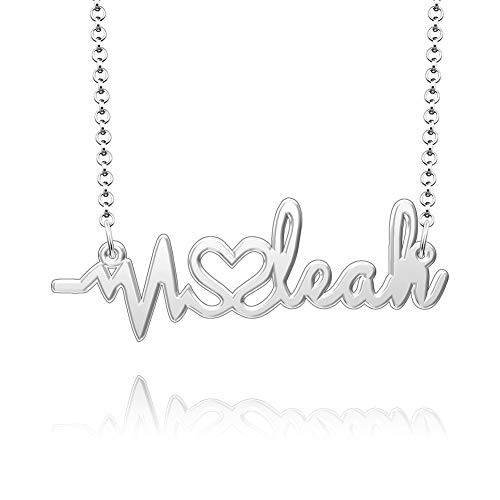 SexyMandala Name Necklace Personalized Custom Made Any Name Necklace Sterling Silver Heartbeat Pendant Jewelry for Christmas Gift