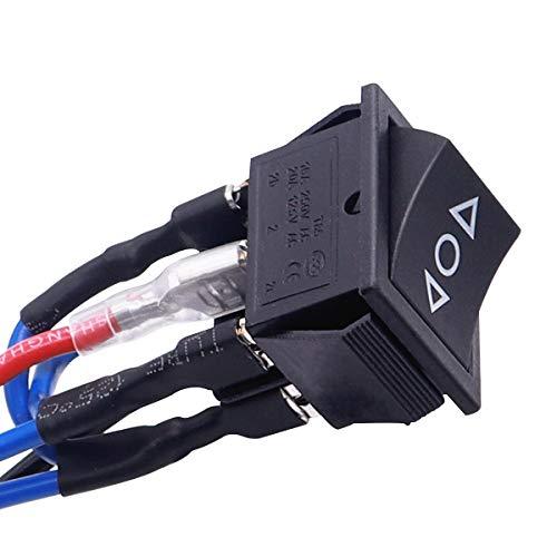 Taiss Interrupteur /à Bascule /à Commande Momentan/ée Moteur /à Courant Continu 6 Broches 3 Positions 10A 12V ON-Off-ON noir Polarit/é Inverseur Bateau Interrupteur Automatique Avec Fil KCD2-223-M-JT