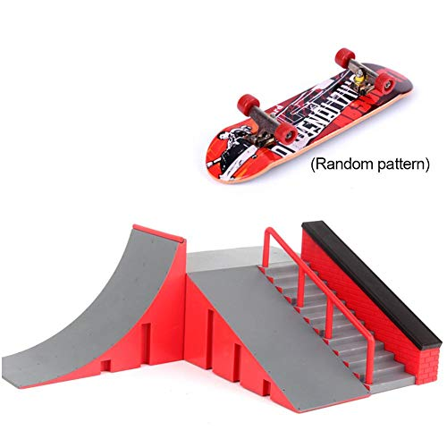 Mini Skateboard Set, Skateboard Rampe Griffbrett Skatepark Kit Rampenteile Mit 1 Finger Skateboard Für Finger Skateboard Trainings Erforderlich