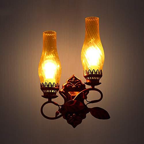 Jtivcs Lampada da parete in metallo retrò a 2 luci in stile americano Lanterna in vetro creativo Lampada a cherosene Personalità Sala studio Camera da letto Comodino Applique Illuminazione da parete f