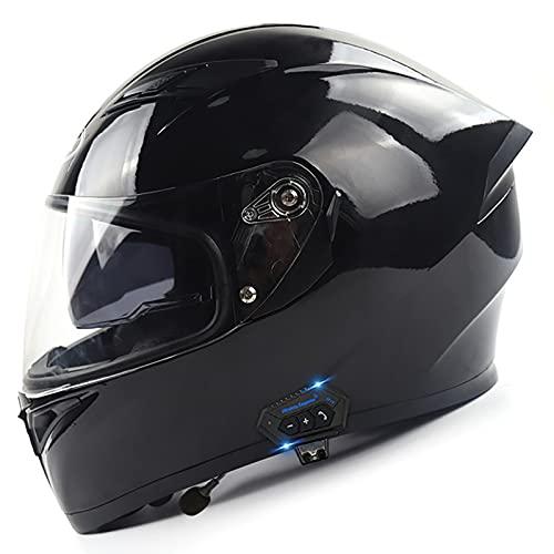 Integrado Bluetooth Casco Moto Integral,ECER 22-05 Aprobado con Flip Up Doble Visera HD Casco de Moto Integrales Scooter Protección Cascos para Mujer y Hombre Cuatro Estaciones A,M=57~58cm