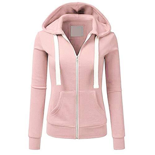VEMOW Herbst Hoodies Damen Plus Size Langarm Casual Daily Sport Outdoors Freizeit Solid Damen Sweatshirt Kapuzenpullover Tops Shirt Winter Frühling(X1-Orange, 38 DE/M CN)
