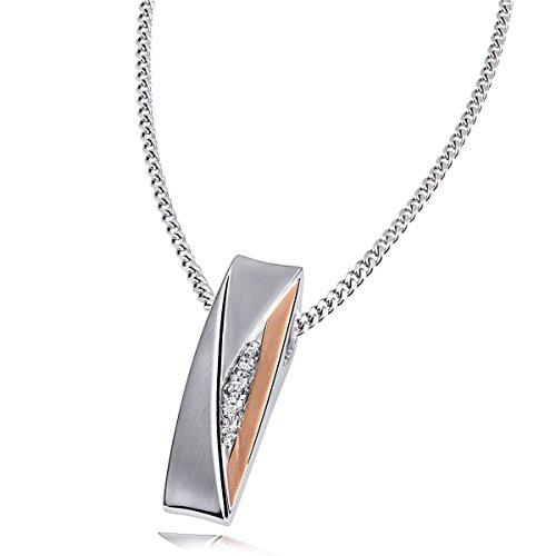 Goldmaid Damen-Halskette Red Eye 925 Sterlingsilber 5 Zirkonia Kettenanhänger Schmuck