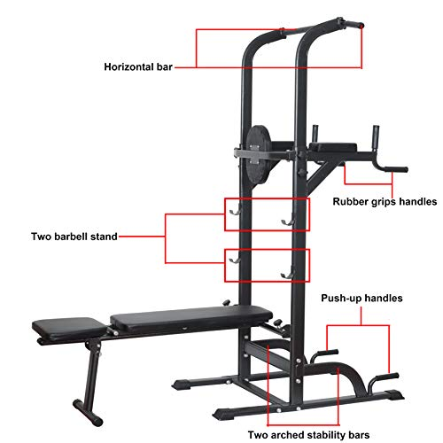 Power Tower Dip Station High Capacity 800lbs w/Weight Sit Up Bench Adjustable Height Heavy Duty Steel Multi-Function Fitness Pull Up Chin Up Tower Equipment for Home Office Gym Dip Stands (Black)