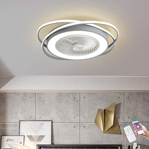 TATANE Ventilador de Techo con Encendiendo LED Ligero 72W con Mando a Distancia y App Regulable Invisible Silencio Ventilador Luces Nuevo Moderno Creativo Cuarto Sala Oficina Lámpara Ø70CM,Gris