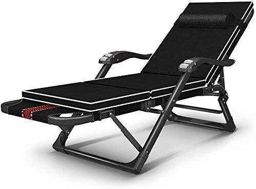 Sillas plegables Mecedora Cubierta Tumbona, Multi-ángulo reclinable Ajustable, reposabrazos Masaje, reclinable portátil, Almohada Opcional (Color : B)