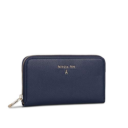 Patrizia Pepe Pepe Basic Grain Zip Around Wallet Dress Blue