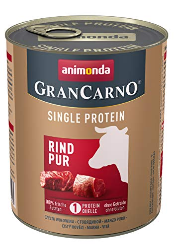 animonda Gran Carno adult Single Protein Hundefutter, Nassfutter für ausgewachsene Hunde, Rind pur, 6 x 800 g, 6er Pack (6 x 0.8 kilograms)