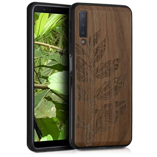kwmobile Funda Compatible con Samsung Galaxy A7 (2018) - Funda de Madera de Nogal Hojas talladas marrón Oscuro