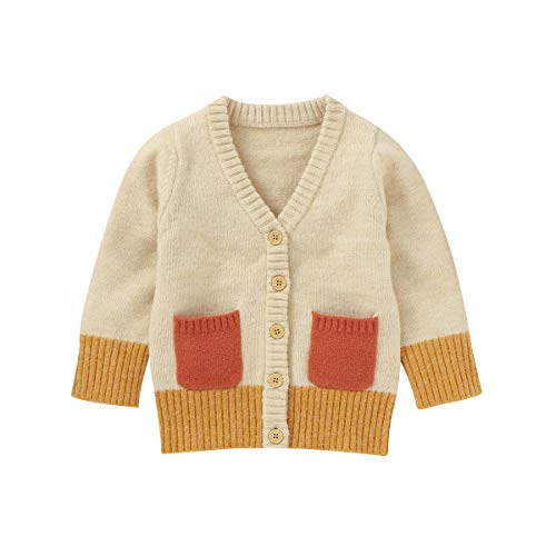 Shejingb Newborn Infant Baby Girl Boy Cardigan Sweater Knitted Button Long Sleeve Jacket Coat Fall Winter Clothes Outwear Yellow