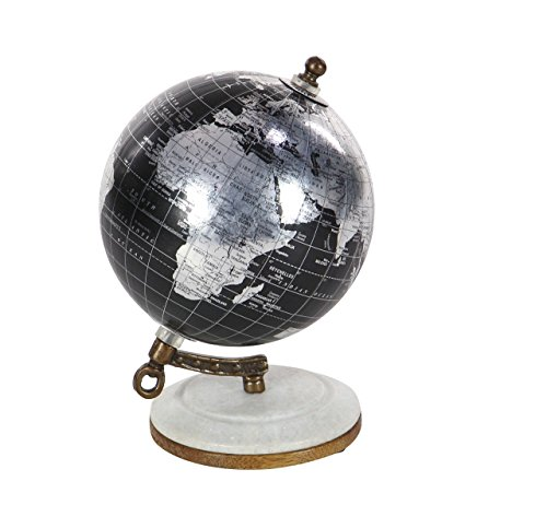 Deco 79 94470 Marble and Resin Decorative Globe, 7' x 5', Black/Silver/White/Brown