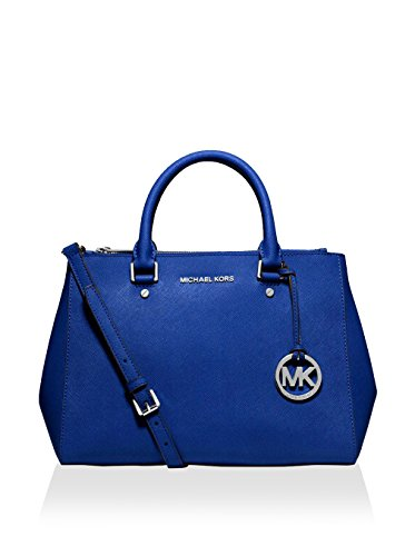 """Electric Blue Saffiano Leather Two Top Zippers Magnetic Closure 20"""" Adjustable Strap Drop -Interior: Two Top Zip Pockets, One Interior Zip Pocket, Three Open Pockets, One Cell Phone Pocket, One Key Fob"""