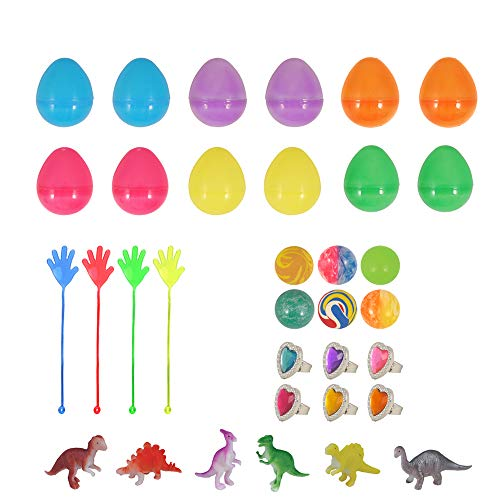 KINPARTY Huevos de Pascua, 12 piezas huevos de plastico para rellenar, huevos con juguetes surtidos
