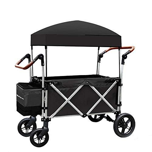 Z-SEAT Tragbarer Gartenwagen, Klappwagenkapazität 100 kg, mit Stoßdämpfer und Sicherheitsgurt, Markise, für Picknicks, Camping, Shopping, Strände, Konzerte