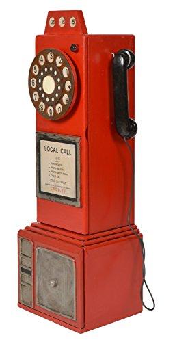ts-ideen Unidad de Almacenamiento Armario estante para CD DVD Diseño Teléfono Público Rojo 79 x 26 cm