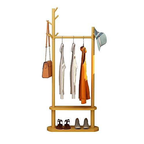QJF-YJ Ropas Colgantes for Ropa de bambú Ropa Rack Riel Colgante con 2 gradas y Ganchos Estantes for Almacenamiento de lavandería, 180cm (H)