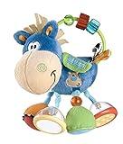 Cavallo di peluche colorato come giocattolo educativo per favorire lo sviluppo delle capacità motorie, Ideale per stimolare la vista, l'udito e il tatto, Adatto per bambini a partire da 3 mesi Varietà di divertimento: etichette e anello con perline s...