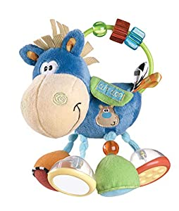 Playgro Sonajero Multiactividades Caballo, Desde los 3 Meses, Sin BPA, Playgro Activity Rattle Clip Clop, Azul/Multicolor, 40016